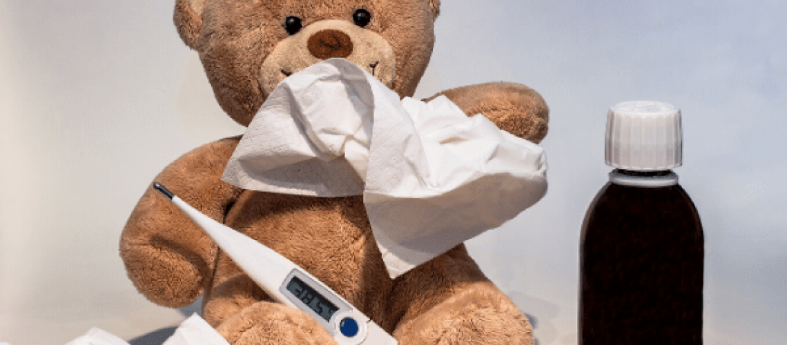 teddy-with-thermometer-tissue-and-medicine